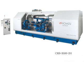 建機用シリンダーロッド研磨機・CRB-3500-2H型 油圧シリンダーロッドの最終研磨を加工中の研磨負荷をフィードバックし、全自動加工します。
